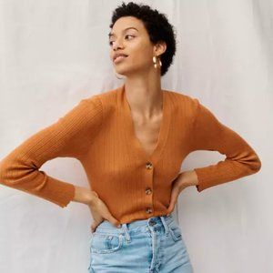 MADEWELL Pointelle Ribbed Cardigan Sweater {LL30}